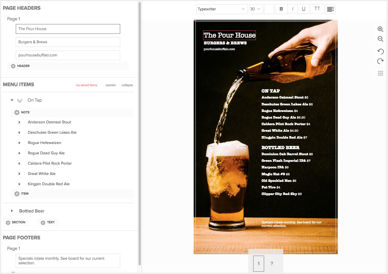 Create Bar Menus
