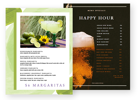 Design Happy Hour Menus