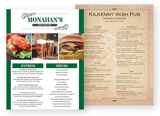 Design Irish Menus