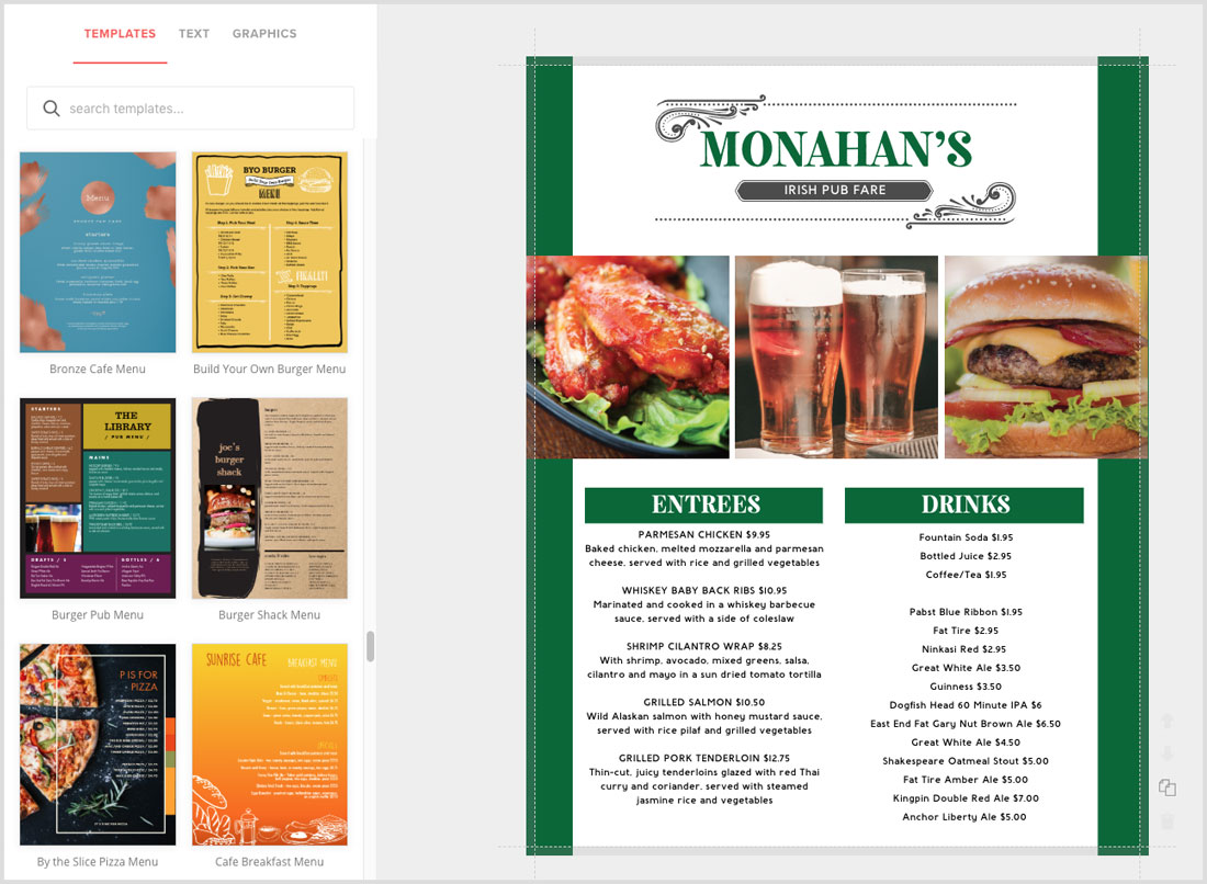 Create Irish Menus