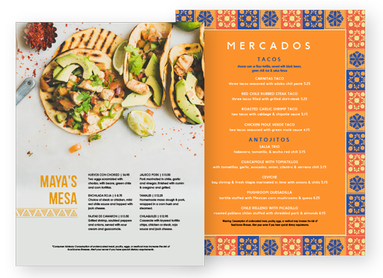Design Mexican Menus