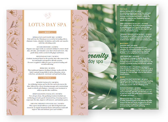 Design Spa Menus