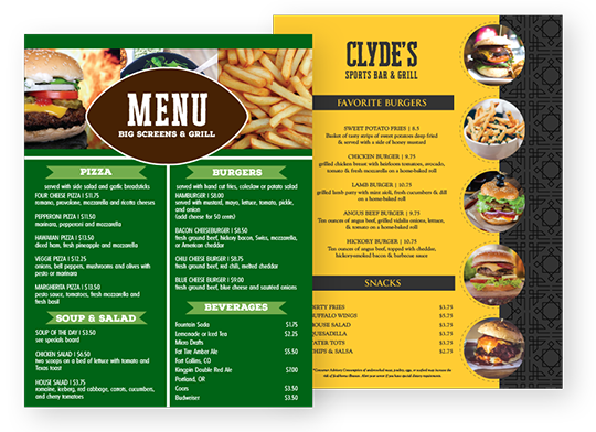 Design Sports Bar Menus