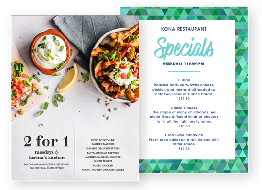 Design Daily Specials Menus