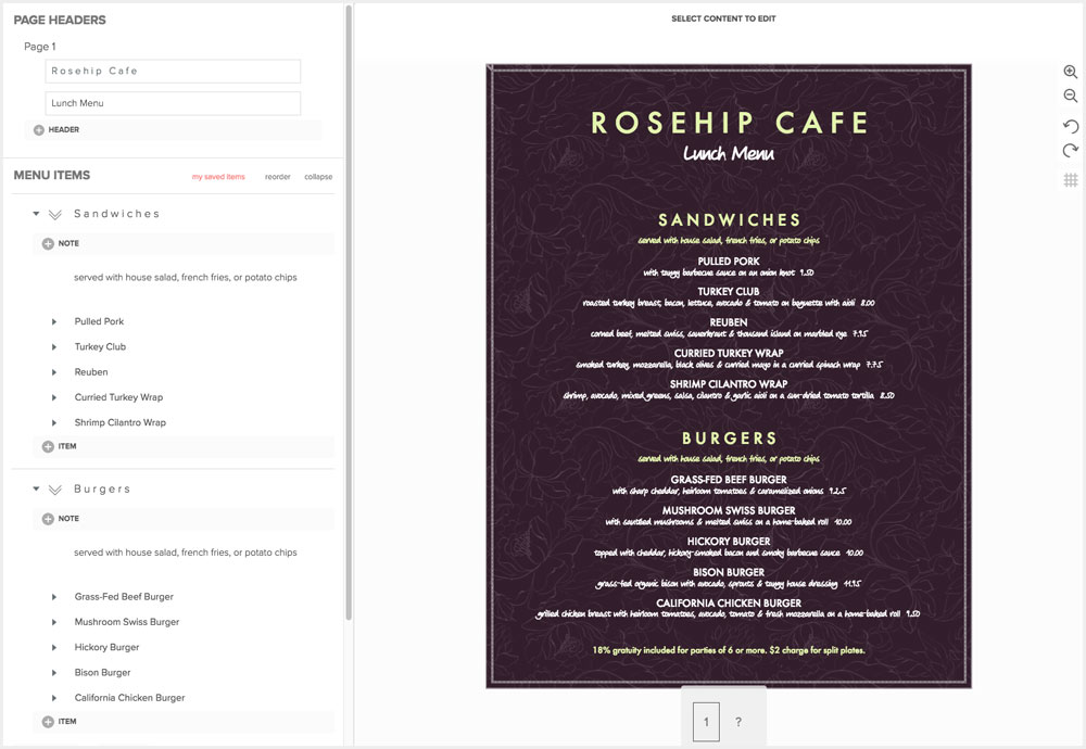 Design Cafe Menus