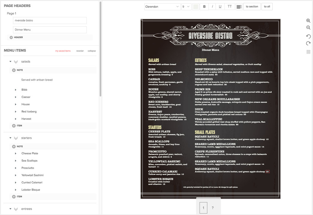 Design Restaurant Menus