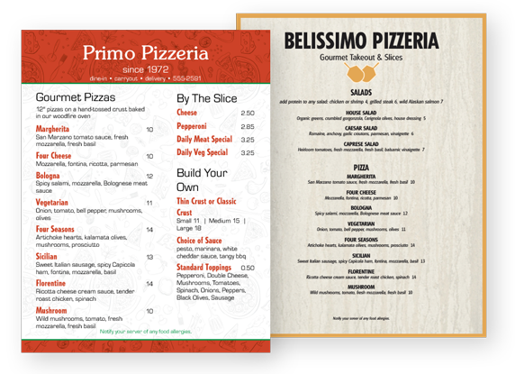 Design Pizza Menus