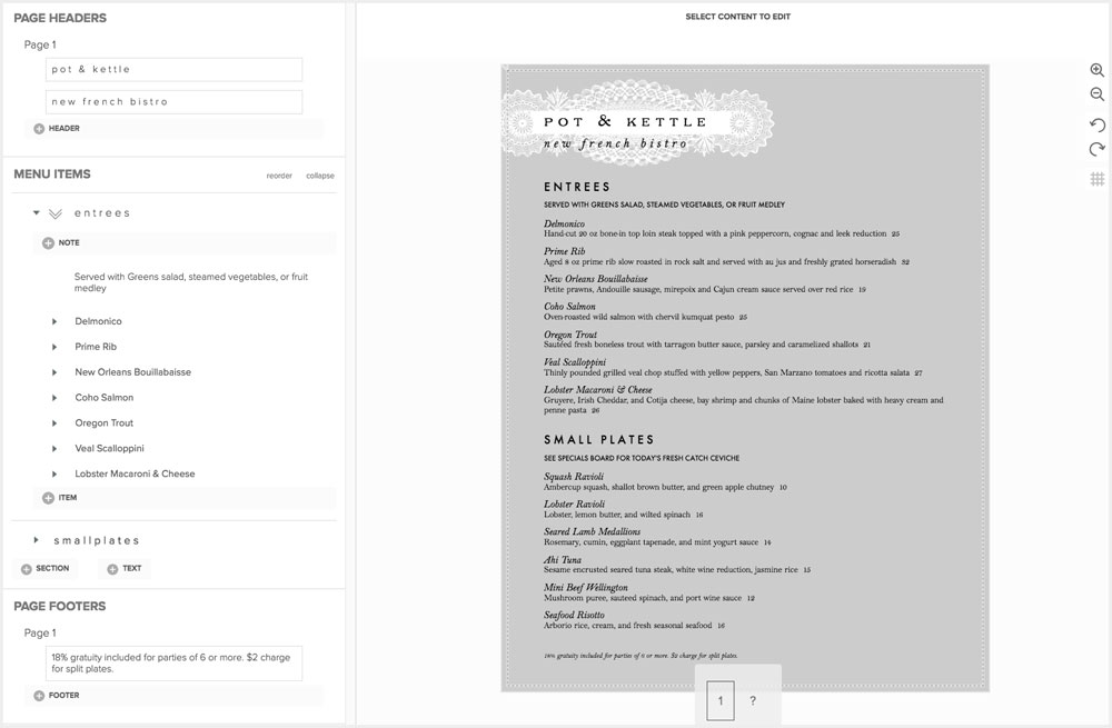 Create French Menus