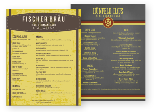 Design German Menus
