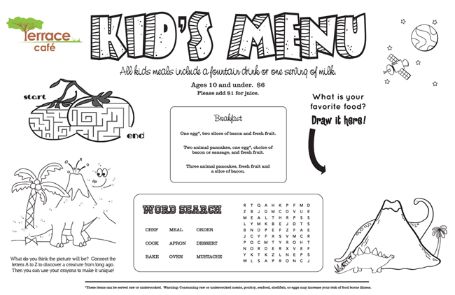 Kids 39 menu kid menu designs kid menu templates for Free printable menu templates for kids