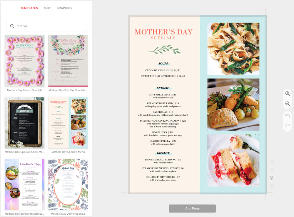 Create Mother's Day Menus