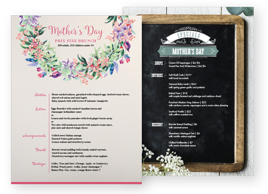 Design Mother's Day Menus