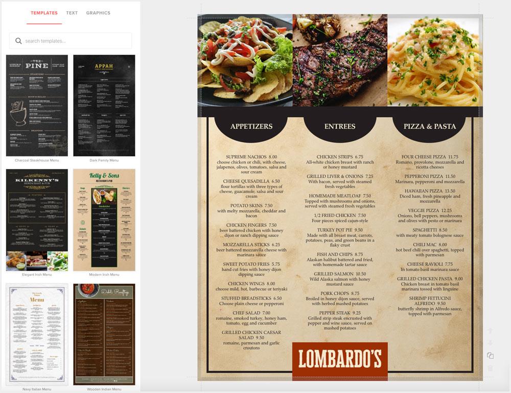 Design Restaurant Menus Online For Free