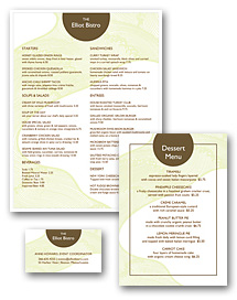 Downtown Hotel Menu Set