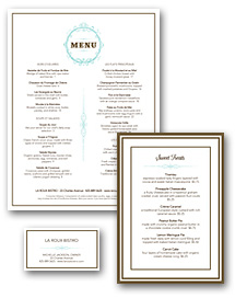 French Restaurant Menu Set