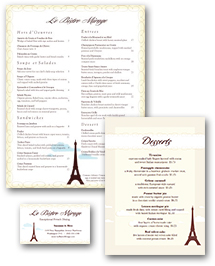 Eiffel Tower French Menu Set
