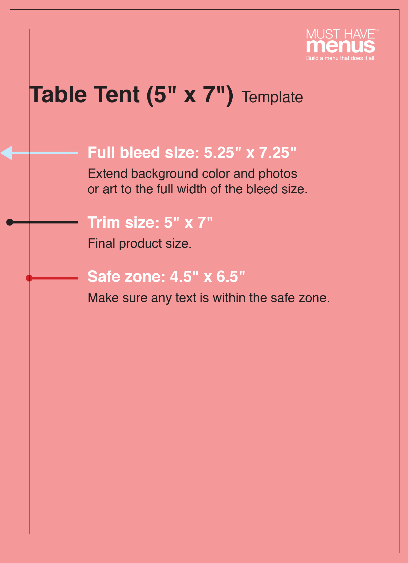 table tent size