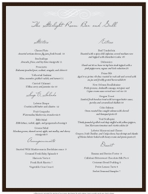 Fine Dining Menus  A La Carte Menu Template