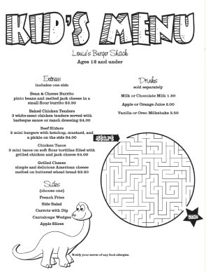 Kid Menus  Free Printable Restaurant Menu Template