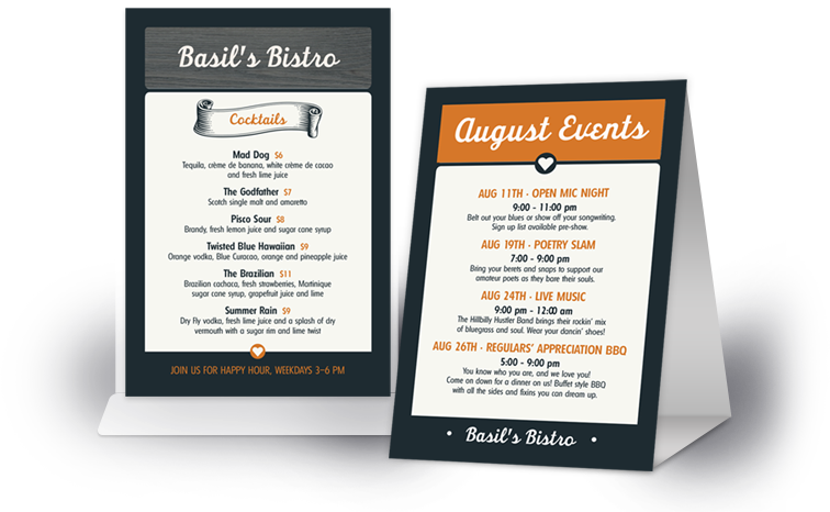 Table Tents For Restaurants Musthavemenus