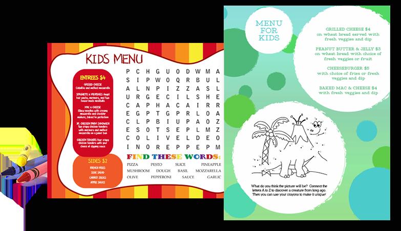 Kids Menu Printing, Customizable Kids Menus - MustHaveMenus