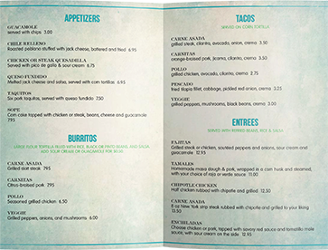 Folded Menu Sizes
